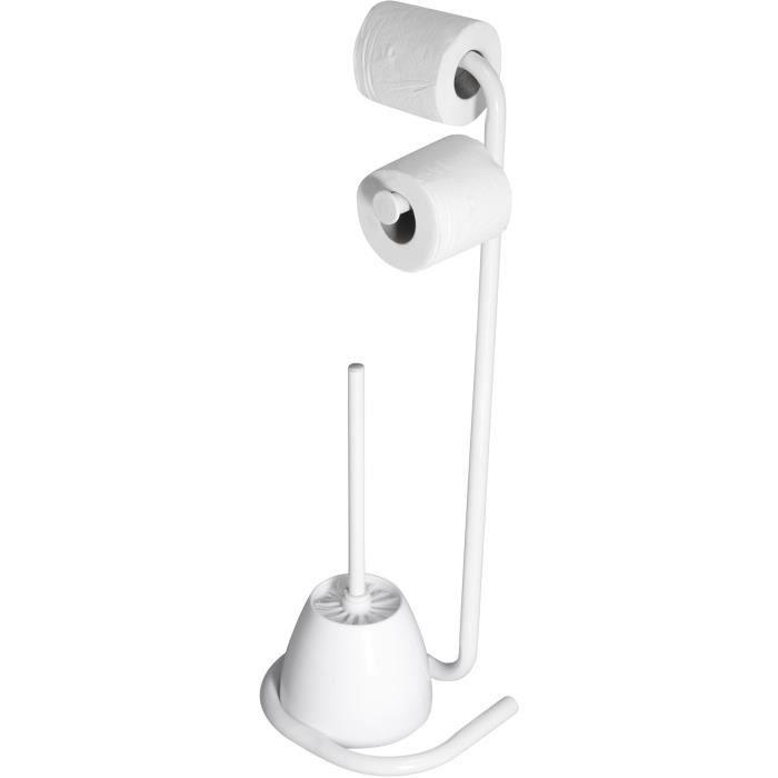 Valet WC HAPPY avec dérouleur papier WC, réserve papier et brosse WC