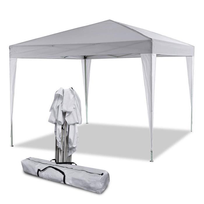 3 x 3m Tente tonnelle pliante, Tente de réception avec 4 panneaux latéraux - Blanc