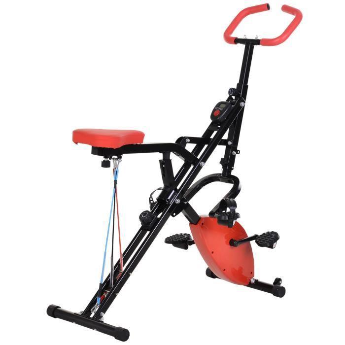Vélo d'appartement body trainer 2 en 1 pliable écran LCD 8 niv. de résistance acier ABS PVC rouge noir 97x51x115cm Noir