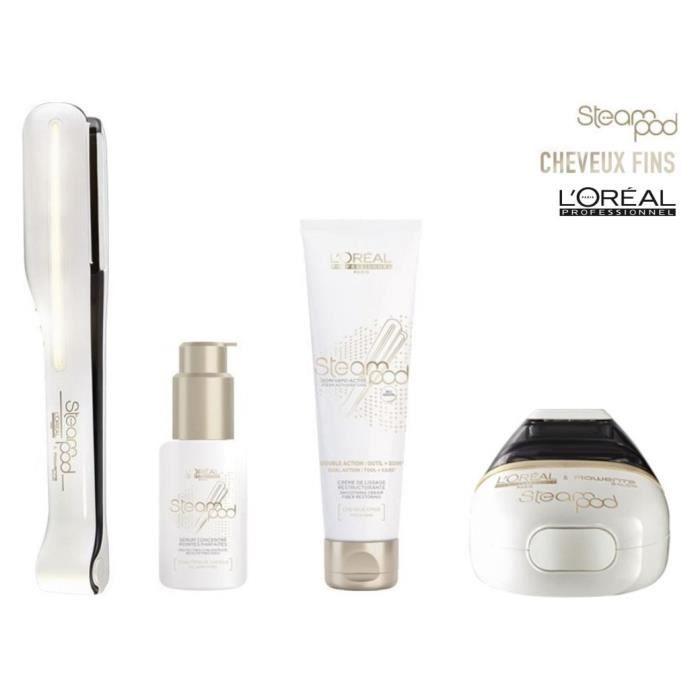 L'OREAL Coffret Steampod 2.0 - Fer à lisser cheveux fins + sérum + lait de lissage