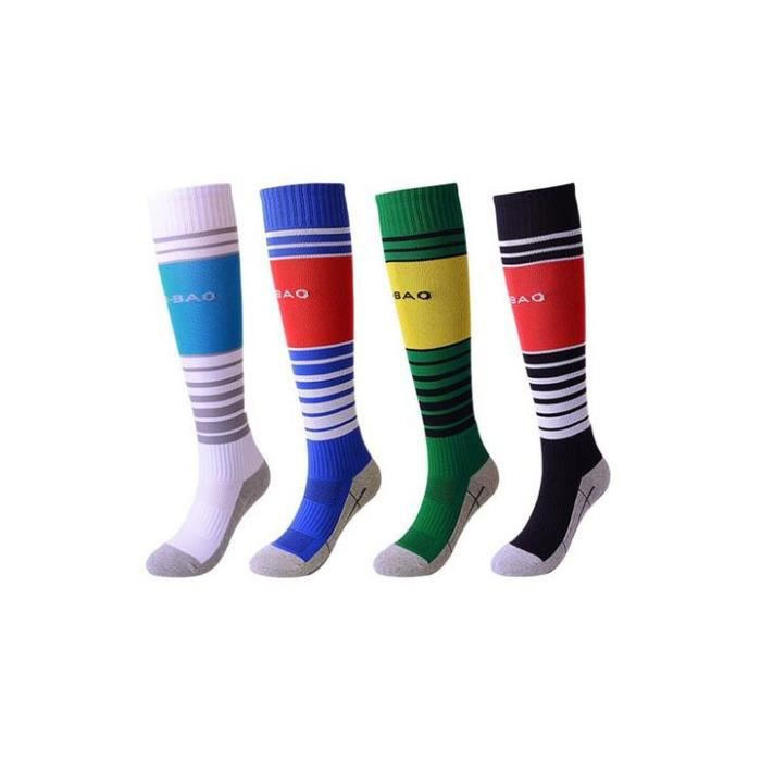 Lot de 4 Paires Chaussettes de Football Enfant Chaussettes de Sport Protection Respirantes Antidérapant - Blanc bleu vert noir