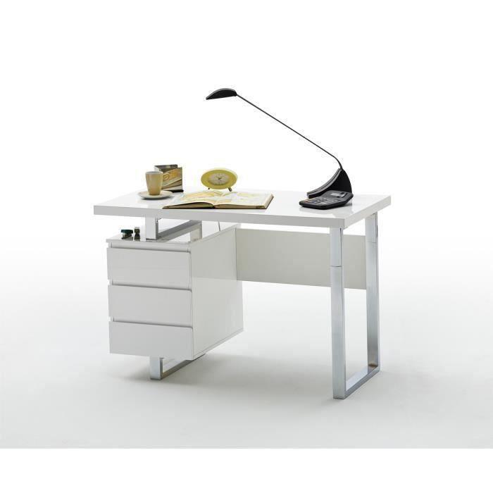 Bureau coloris laque blanc brillant avec pietement metal chrome - L115 x H76 x P60 cm