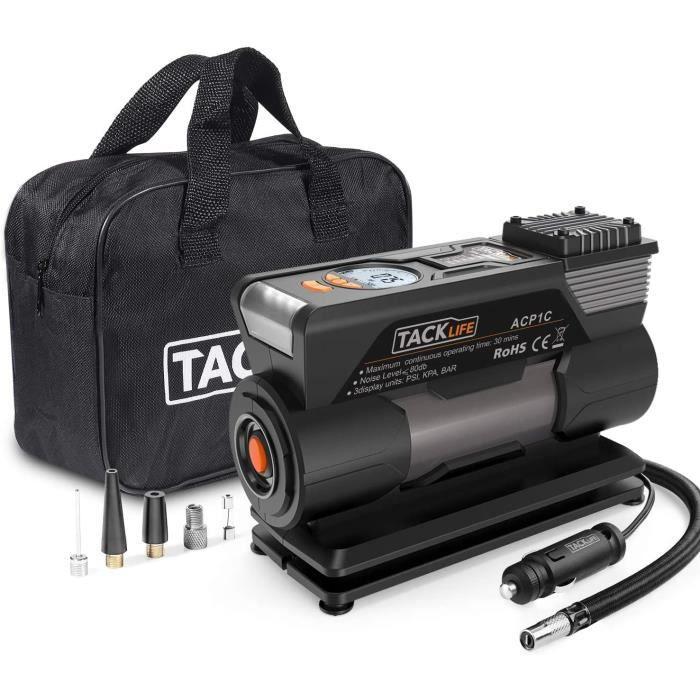 Compresseur d'Air Portatif 12V 120W, Mini Pompe de Compresseur d'Air Numérique TACKLIFE, Auto Gonfleur de Pneu avec LED - M1