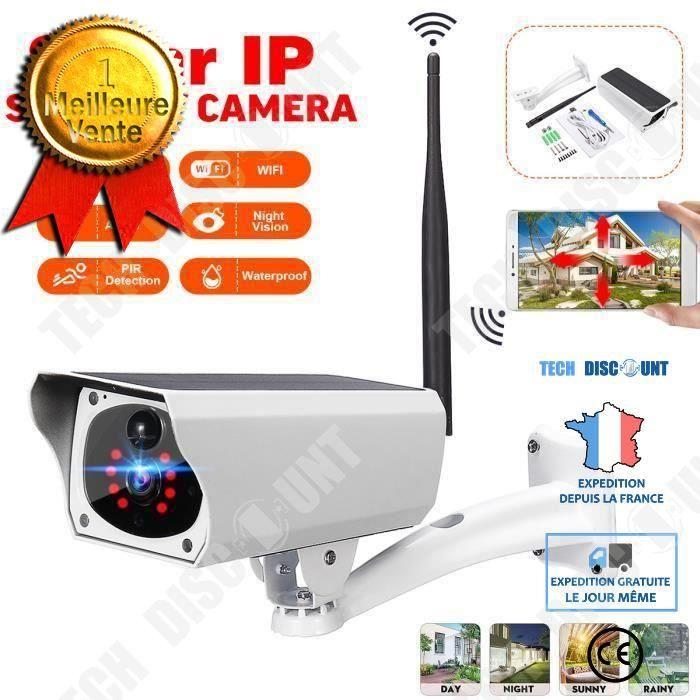 caméra surveillance wifi extérieure alimentation panneau solaire HD 1080P à distance étanche dispositif sécurité domicile jardin