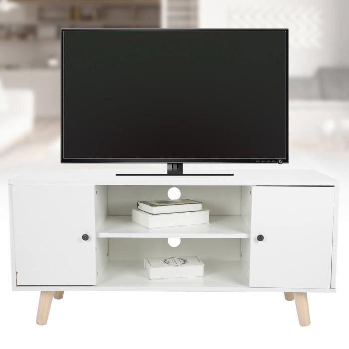 ABI Supports de télévision à tiroirs Meuble TV 2 Couches Blanc en MDF et Bois pour Maison de Divertissement Salon Ameublement neuf