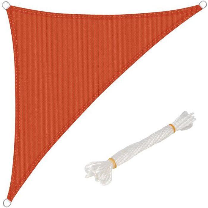 WOLTU Voile d'ombrage triangulaire en HDPE,protection contre le soleil avec protection UV pour jardin-terrasse, 3x3x4.25 m, Terre