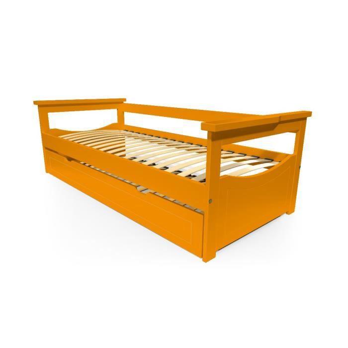 LIT GIGOGNE Lit Gigogne Topaze 80 x 190cm - Couleur - Orange,