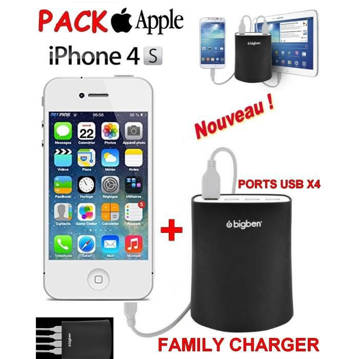 familly chargeur apple iphone 4s blanc achat smartphone pas cher avis et meilleur prix. Black Bedroom Furniture Sets. Home Design Ideas