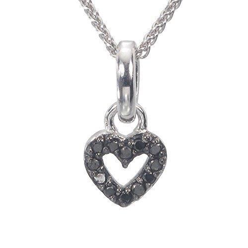 environ 45.72 cm Chaîne Argent Sterling Diamant Noir Pendentif 1//10 carat avec 18 in