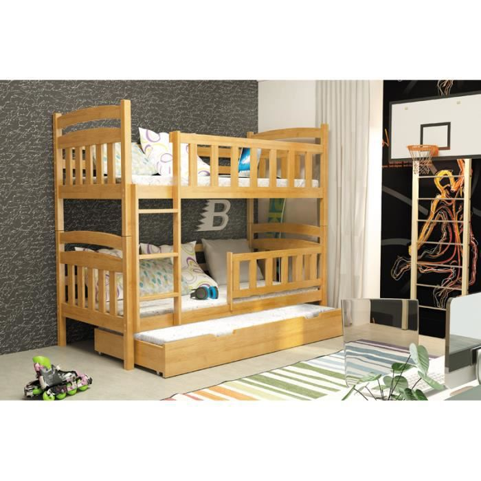 lit superpos enfant kacper 3 aulne 185x80 achat vente. Black Bedroom Furniture Sets. Home Design Ideas