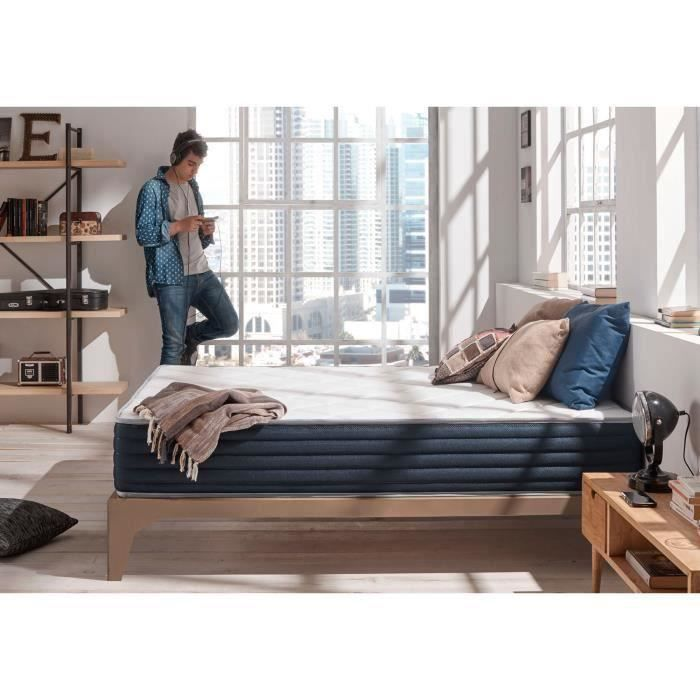 matelas aura 140x190 cm 2 faces m moire blue latex 25. Black Bedroom Furniture Sets. Home Design Ideas