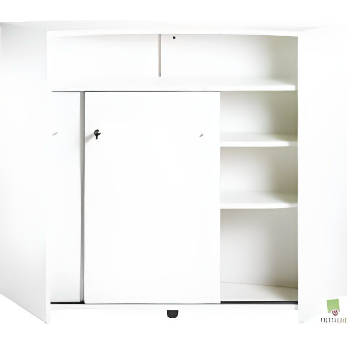 Meuble bar 2 portes blanc achat vente meuble bar for Meuble bar separation cuisine