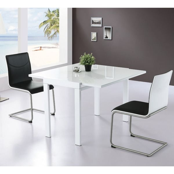 Table Extensible Carree 4 Places Mdf Blanche Achat Vente Table A