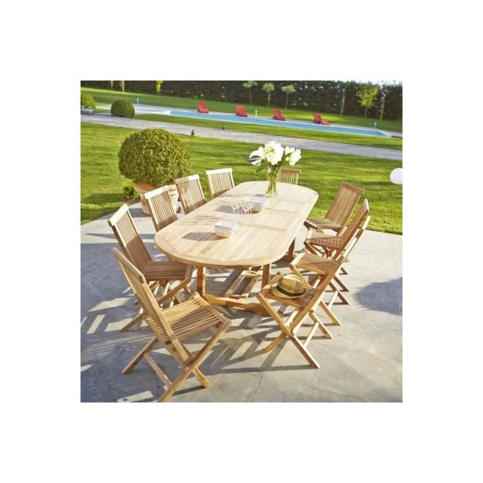 Table de jardin en teck brut qualite grade a 10 achat vente table de jar - Table de jardin c discount ...