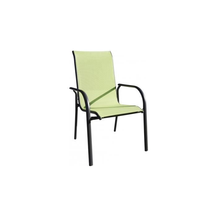 fauteuil de jardin empilable aluminium noir textil ne vert anis achat vente chaise. Black Bedroom Furniture Sets. Home Design Ideas