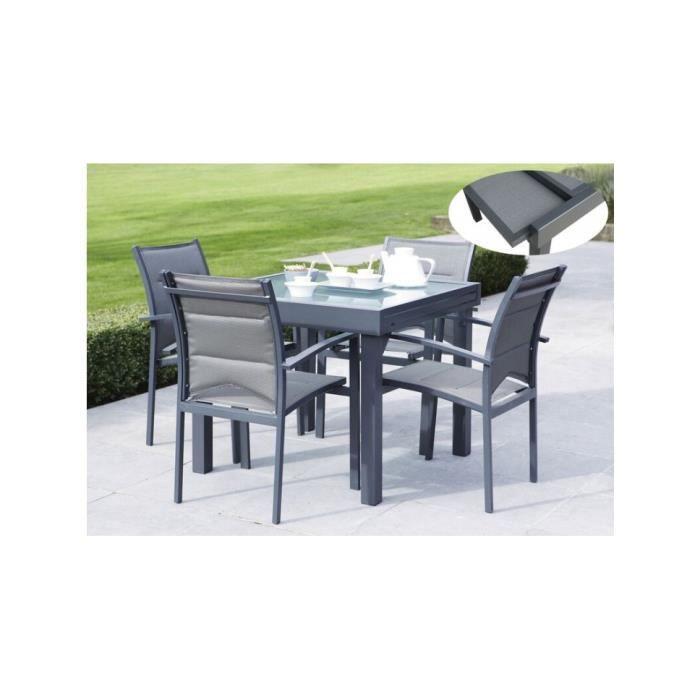 Ensemble table et chaise de jardin Ensemble jardin textilène aluminium gris et verre