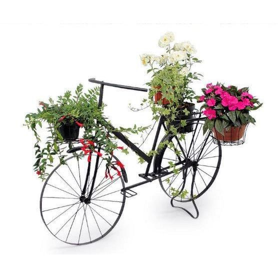 V lo de style en m tal laqu noir grand mod le achat vente jardini re pot fleur v lo de for Decoration jardin velo