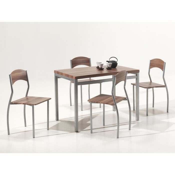 Ensemble table et chaise en m tal coloris noyer achat vente salle manger ensemble table et - Ensemble table et chaise ...