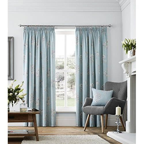 dreams n drapes rideaux doubl s 66 x 54 cm doubl floral bleu canard achat vente rideau. Black Bedroom Furniture Sets. Home Design Ideas