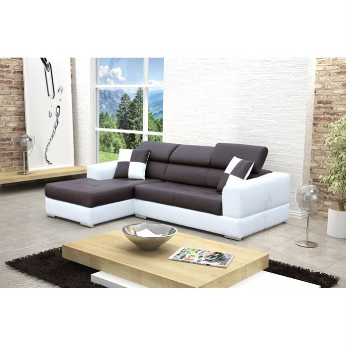 canape d angle gauche design noir et blanc madrid achat vente canap sofa divan cuir pu. Black Bedroom Furniture Sets. Home Design Ideas