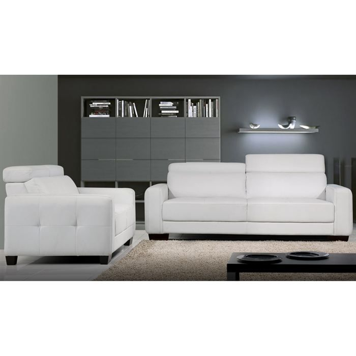 canape 3 places et 2 places revetement pu blanc achat. Black Bedroom Furniture Sets. Home Design Ideas