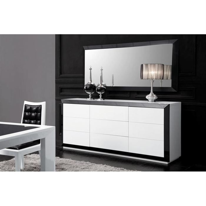 bahut design laque noir et blanc haute brillance achat. Black Bedroom Furniture Sets. Home Design Ideas