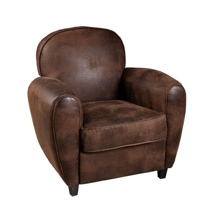 pragues fauteuil club en tissu marron achat vente fauteuil cdiscount. Black Bedroom Furniture Sets. Home Design Ideas