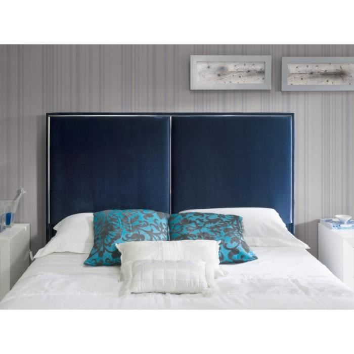 t te de lit kinley en velours bleu marine pour lit king size l 192 x h 118 achat vente. Black Bedroom Furniture Sets. Home Design Ideas