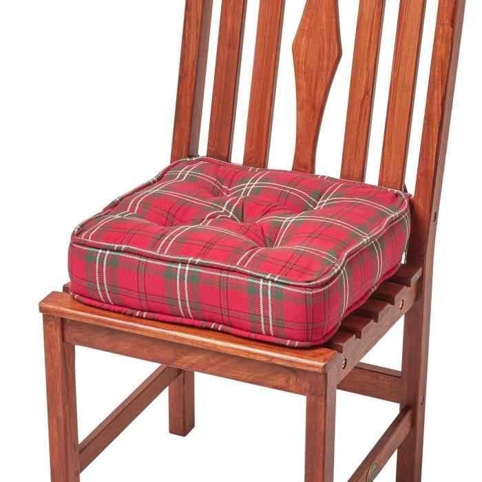 galette de chaise rehausseur tartan cossais rouge achat vente coussin de chaise cdiscount. Black Bedroom Furniture Sets. Home Design Ideas