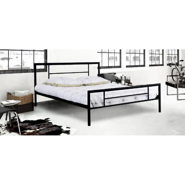 isidor lit adulte 160x200 cm en m tal noir achat. Black Bedroom Furniture Sets. Home Design Ideas