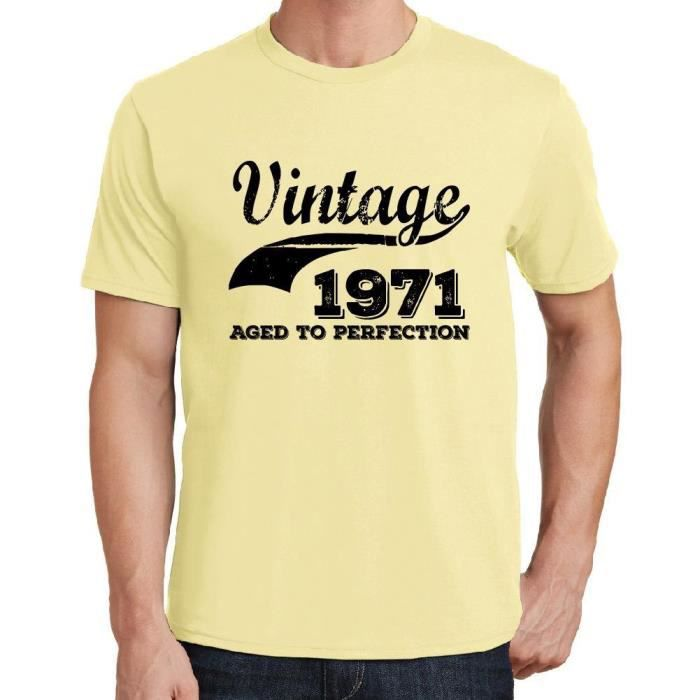 T-SHIRT Vintage Year Aged to perfection 1971, Jaune Homme