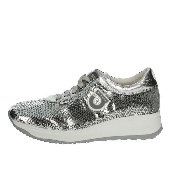 Femme Argent Argent Agile Sneakers Rucoline Petite noir 38 By ZPPzwI