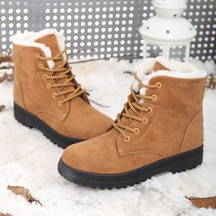New Classic Femmes Chaussures chaudes Bottes de neige Mode d\u0027hiver Bottes  courtes Brown 36