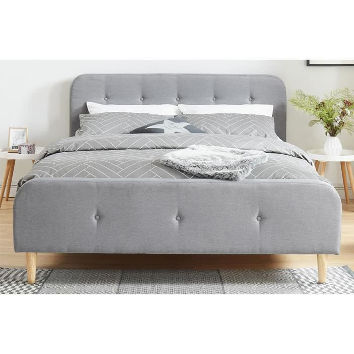 lit adulte scandinave en tissu gris clair capitonn sommier latte 160x200 collection mark. Black Bedroom Furniture Sets. Home Design Ideas