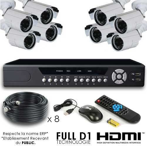 kit video surveillance full d1 8 cam ras 700 cc achat vente cam ra de surveillance cdiscount. Black Bedroom Furniture Sets. Home Design Ideas