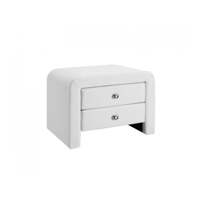 Table de chevet pu blanc mat achat vente chevet table - Table de chevet bois blanc ...