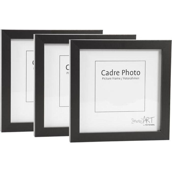 CADRE PHOTO lot de 3 cadres photo carré 20x20 noir