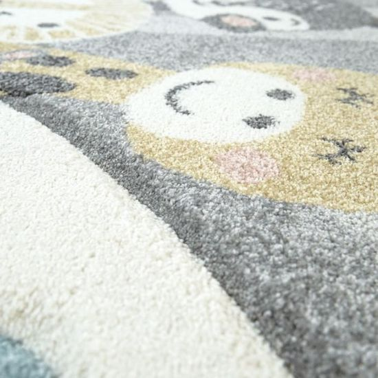 Dimension:120x170 cm Tapis Chambre Enfant Adorable Montgolfi/ère Nuages Joyeux Animaux Pastel en Cr/ème