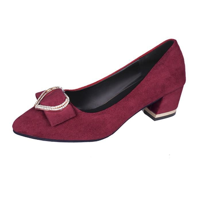 Femmes Mode Femmes Cristal Mocassins Toe Pointu Chaussures causales travail Chaussures SIMPLES rouge