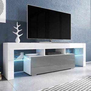MEUBLE TV Meuble tv 138 blanc mat et gris laqué avec led 138