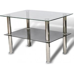 TABLE BASSE Table basse de salon design verre noir blanc 2 pla