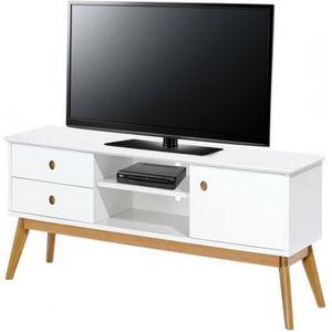 MEUBLE TV Meuble TV Blanc 1 Porte 2 Tiroirs 4 Pieds Chêne Vi