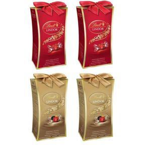 CONFISERIE DE CHOCOLAT Lot de 4 - 2 LINDT Mini Cadeau Lait Lindor 75 g +