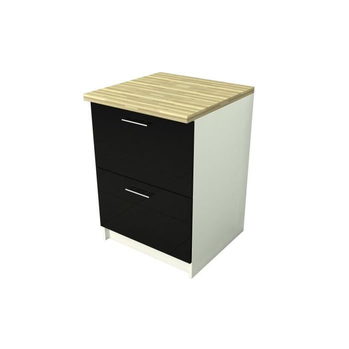 caisson casserolier 2 tiroirs laqu noir 60cm achat vente cuisine compl te caisson. Black Bedroom Furniture Sets. Home Design Ideas