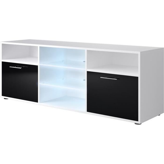 kora meuble tv contemporain blanc et noir brillant l 150 cm achat vente meuble tv kora. Black Bedroom Furniture Sets. Home Design Ideas