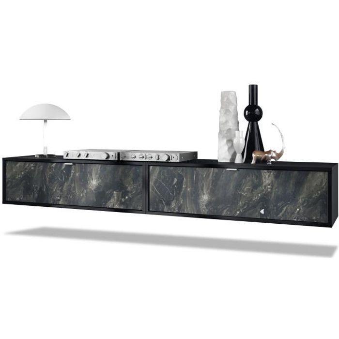 Ensemble de 2 set meuble TV Lana 100 armoire murale lowboard 100 x 29 x 37 cm, caisson en noir mat, façades en Marbre Graphite