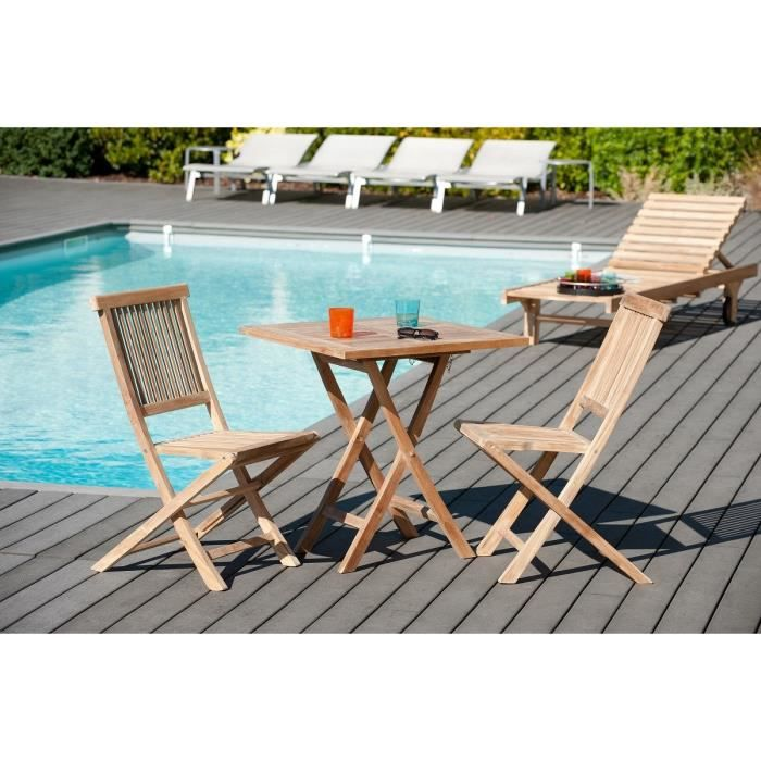 Table de jardin en teck carr e pliante 70 x 70 cm achat vente table de ja - Table de jardin c discount ...