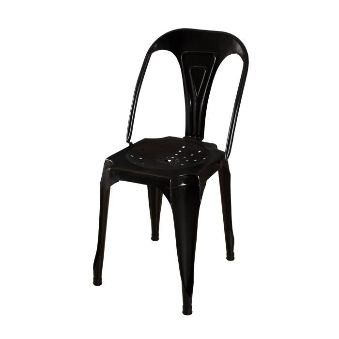 oxford chaise style industriel en m tal noir achat vente chaise chaise de salle manger. Black Bedroom Furniture Sets. Home Design Ideas