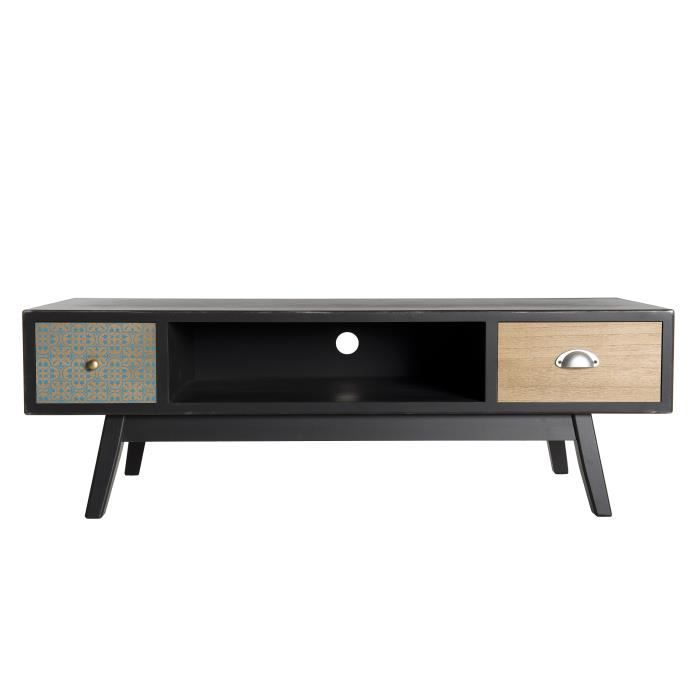 Meuble TV 2 tiroirs - Noir - L 120 x P 40 x H 40 cm