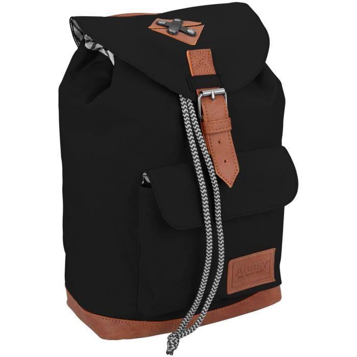 ABBEY Sac à dos du quotidien - Polyester 300T - Une poignée sur le dessus - Dim : 20 x 13 x 29 cm - Noir